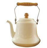 Antique Enamel Kettle Stock Photo