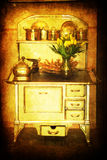 Antique enamel stove Stock Photo