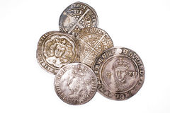Antique England and  France Silver coins on white background Royalty Free Stock Image