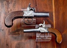 Antique English Percision Pistols. stock photos