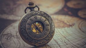 Antique Engraved Metal Watch Pendant royalty free stock photos