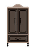 Antique engraved wardrobe on legs in dark colors vector illustration