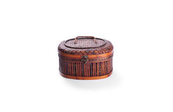 An antique engraved wooden jewelry box Stock Image