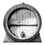 Antique engraving illustration of Oak barrel hand drawing black and white clip art isolated on white background,Alcoholic. Fermentation barrel vector illustration