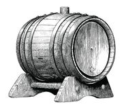 Antique engraving illustration of Oak barrel hand drawing black and white clip art isolated on white background,Alcoholic. Fermentation oak barrel vector illustration