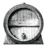 Antique engraving illustration of Oak barrel hand drawing black and white clip art isolated on white background,Alcoholic. Fermentation barrel royalty free illustration