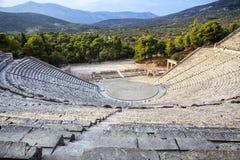 Antique Epidaurus amphitheater in Greece. Antique Epidaurus amphitheater in Peloponnese, Greece Stock Photo