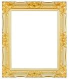 Or antique et support en bois découpé décoratif d'isolement par cadre noir, photos libres de droits