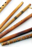 Antique Ethnic traditional indian flutes stock photo