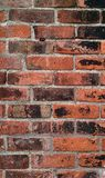 Grungy brick wall set with old fashioned mortar. Antique exterior brick wall with grungy discolored surface and old crumbling mortar Royalty Free Stock Photo