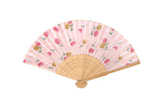 Antique Fan Japanese Folding on white background Stock Photo