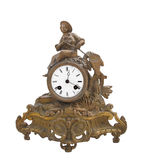 Antique fancy brass table clock isolated Stock Photo