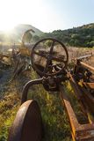 Antique Farm Equipment at sunrise, Italy Stock Image