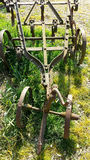 Antique farm plough. In grasses on sunny day Stock Images