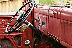 Antique red truck royalty free stock images