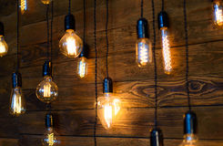 Antique filament light bulbs, Edison light bulbs. Antique filament light bulbs, yellow Edison light bulbs Royalty Free Stock Photography