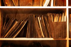 Antique File Folders on Shelf Royalty Free Stock Photos