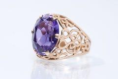 Antique  finger ring. Golden antique  finger ring on white background Stock Photo