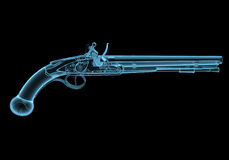 Antique fire-arm pistol. X-ray blue transparent isolated on black Royalty Free Stock Photo