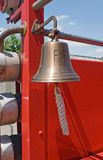 Antique Fire Engine Bell. Close-up of antique 1937 Dodge red fire engine bell Stock Images