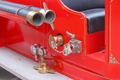 Antique Fire Engine. Detail of a restored fire engine stock photography