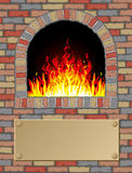 Antique fire place. With a signpost for your text Stock Photo