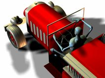 Antique fire truck. 3d render of a manikin driving a vintage fire truck from above Stock Image