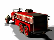 Antique fire truck. 3d render of a manikin driving a vintage fire truck from behind Royalty Free Stock Photo