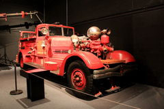 Antique Fire Truck on display in room with several others,State Museum,Albany,2016 Royalty Free Stock Images