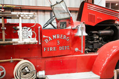 Antique Fire Truck with Hood Open Stock Photos