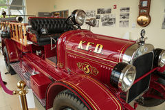 Antique Fire Truck. Ketchikan, AK, USA - May 24, 2105: Firetruck #3 on display at the Ketchikan Fire Department. Purchased in 1925, the Seagrave Pumper has a royalty free stock images