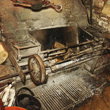 Antique fireplace. Picture of a working 13th century Antique fireplace royalty free illustration