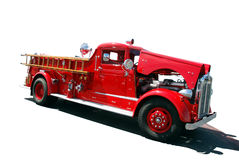 Antique firetruck. S on display to be viewed and admired by passer-bys Stock Photography