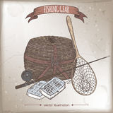 Antique fishing gear color sketch placed on old paper background. Antique fishing gear hand drawn color sketch placed on old paper background. Vintage Royalty Free Stock Photography