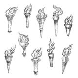 Antique flaming torches sketches set Royalty Free Stock Images