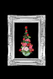 Antique flowers black and white frame isolated on black backgrou Royalty Free Stock Photo