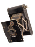 Antique folding pocket camera circa 1915. Old antique folding pocket bellows camera circa 1915 Royalty Free Stock Photo