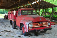 Antique Ford Truck. Under canopy of barn or car port in the countryside in North Georgia mountains stock photos