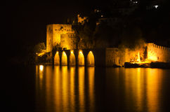 Antique Fortress in Alanya at Night Royalty Free Stock Image