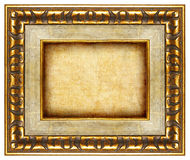 Antique frame. Antique carwed frame with canvas Stock Images