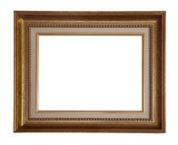 Antique frame. Antique wooden golden frame on white background Stock Image