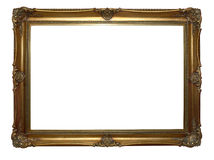 Antique frame. Antique wooden golden frame on white background Stock Images