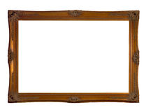 Antique frame. Antique wooden golden frame on white background Royalty Free Stock Photos