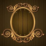 Antique Frame. Illustration of antique frame on wooden wall Stock Photo