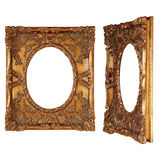 Antique frame. Front and perspective Stock Images