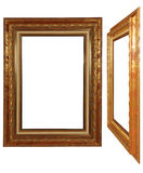 Antique frame. Front and perspective Stock Photos