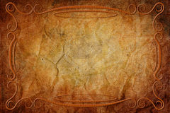 Antique Frame on Background With Parchment Texture Stock Images