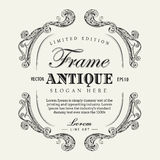 Antique frame hand drawn vintage label banner vector illustration Royalty Free Stock Image