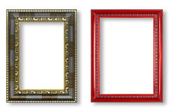 Antique frame and red frame isolated on white background Stock Image