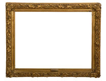 Antique frame is very old with cracks and uneven isolated on white background, with Clipping Paths Royalty Free Stock Photos